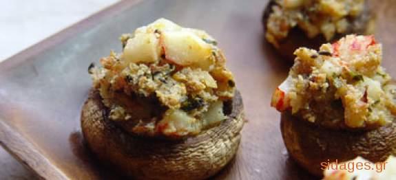 Μανιτάρια γεμιστά με φέτα και σπανάκι - συνταγές μαγειρικής & ζαχαροπλαστικής
