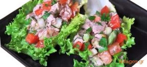 Σαλάτα πράσινη με τόνο και σάλτσα μουστάρδας - www.sidages.gr