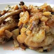 Κοτόπουλο λεμονάτο με μανιτάρια πλευρώτους στο φούρνο