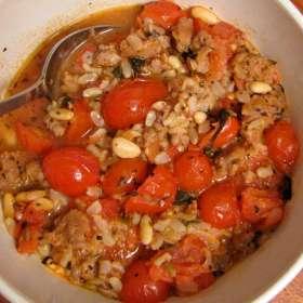 Ρεβίθια στο φούρνο με βασιλικό και λιαστή ντομάτα
