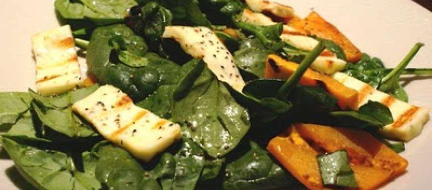 Σαλάτα με κολοκύθα και χαλούμι - www.sidages.gr